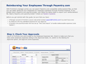 Reimbursing Expenses Via Payentry.com